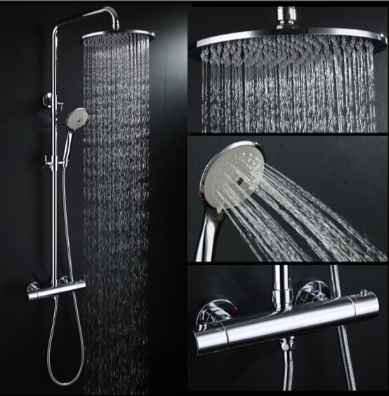 Luxury High Quality Bathroom Chrome Rain Shower Set, Thermostatic Shower Faucet Bath & Shower Faucet Set, Wall Mounted fashion high quality brass chrome thermostatic bathroom shower faucet constant temperature faucet mix water valve full copper