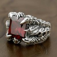 Huge Red Dragon Claw 925 Sterling Silver Mens Biker Rocker Ring 8T002