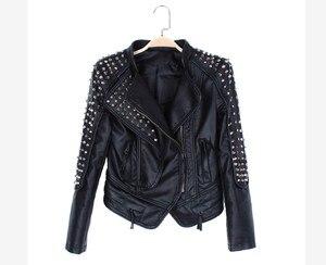 Image 4 - Casaco Feminino Kim Fashion Leather Jacket Spikes Stars Slim Bi metal Silver Rivet metallic jacket Pu Leather Coats Women