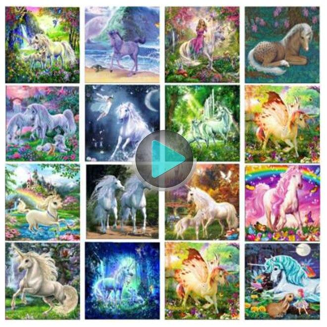 New Sale 5d diy diamond painting unicorn diamond embroidery 3D mosaic crafts home decoration painting animal horse icon