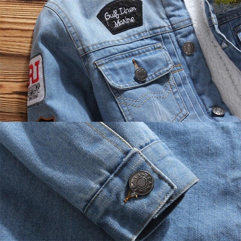 HTB1IDadXtfvK1RjSspfq6zzXFXa8 Men Jacket and Coat Trendy Warm Fleece Denim Jacket 2019 Winter Jean Jacket Thick Winter Coat For Male Classic Solid Outerwear