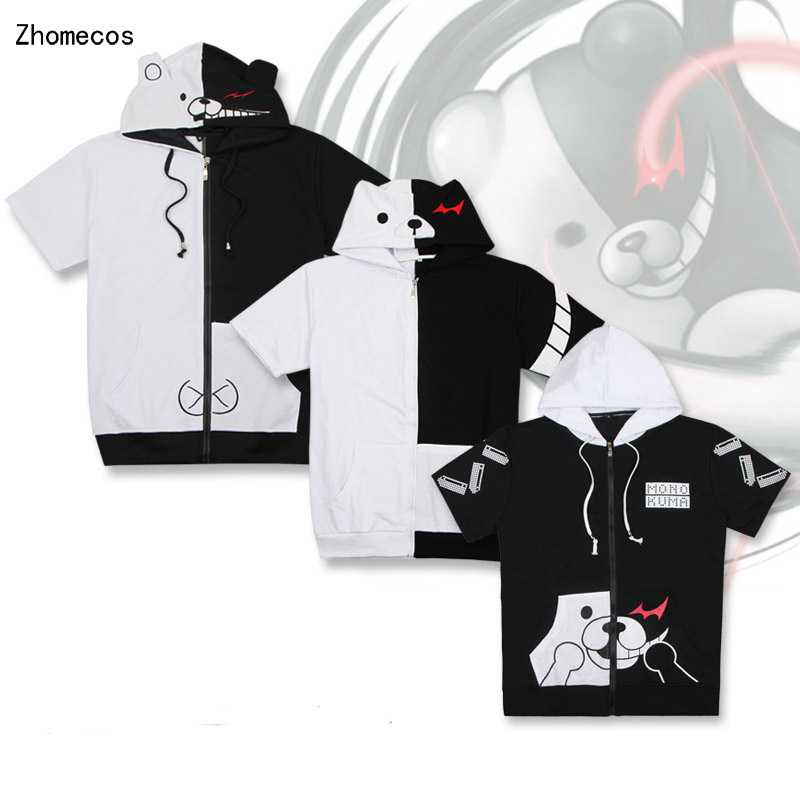 Cotton Unisex Anime Danganronpa Monokuma Short Sleeved Hooded Hoodies Fleece Costumes Cosplay For Woman Man Plus Size