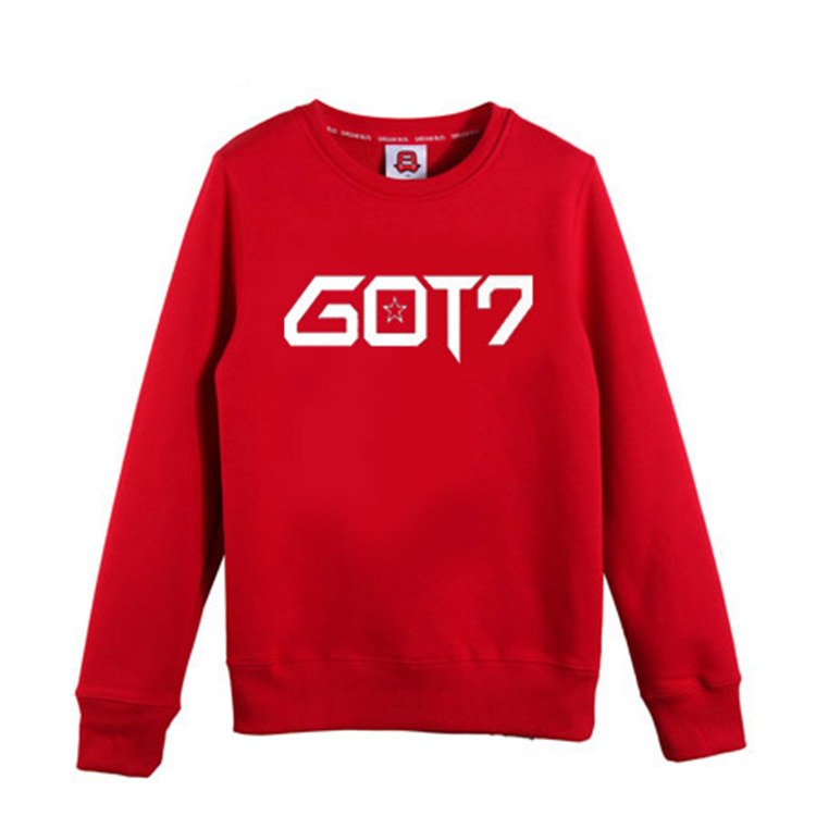 2016 GOT7 new kpop concert album long sleeve hooded men women k-pop GOT7 black sweatshirt autumn spring coat white shirt tops