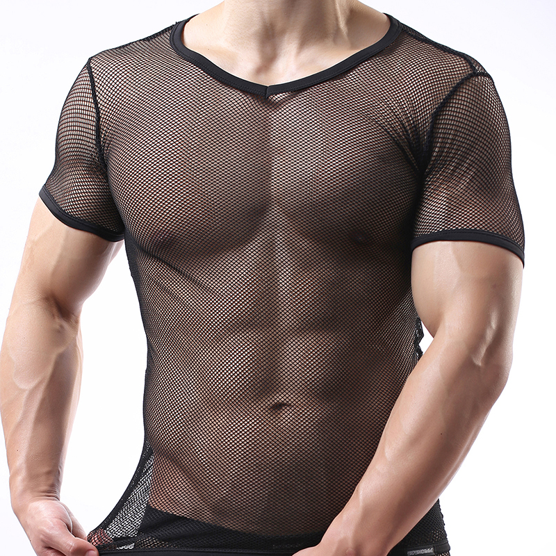 Men Sexy Fitness Transparent T shirts Gay Funny Mesh Cut-outs Tess Shirt  Designer Undershirt