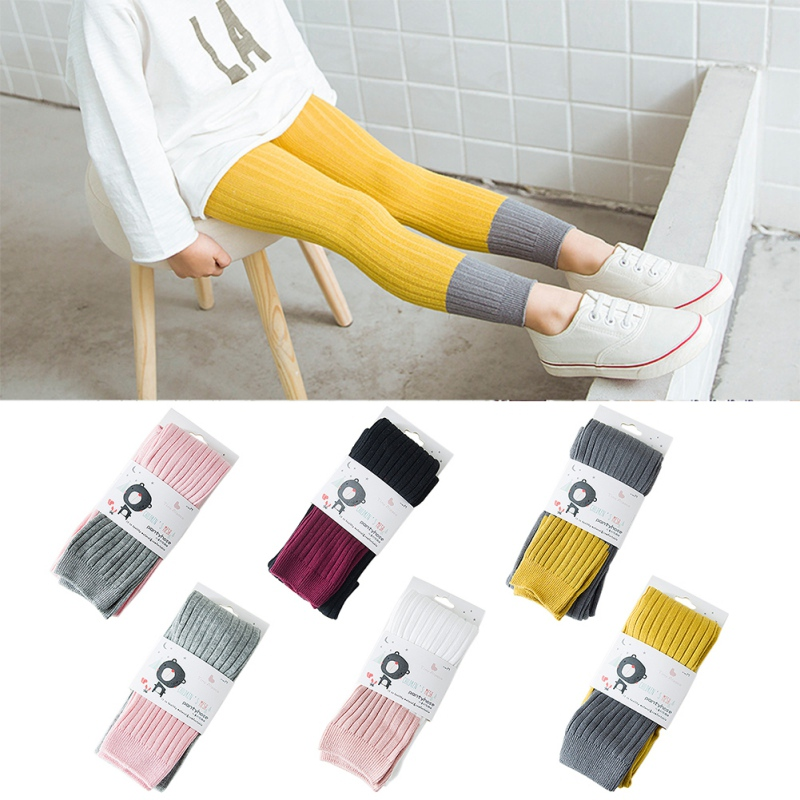 2018 Hot Sale Lovely Spell color And Cotton Material Girls Pants Autumn New Arrival Baby Girls Outwear Leggings M1