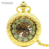 TIEDAN Hot Sale High Quality Vintage Golden Mechanical Pocket Watch With Chian Necklace For Unisex Retro