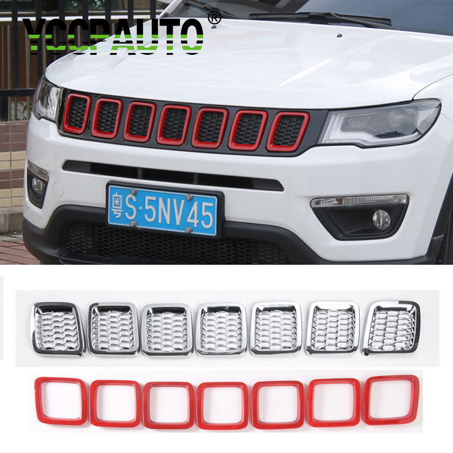 YCCPAUTO Car Styling For Jeep Compass 2017 + ABS Front Grilles Cover Trim Frame Decoration Mesh Honeycomb Multicolor 7PCS car styling fit for toyota land cruiser 2016 abs chrome front grille grills cover body strip decoration racing grilles 2pcs