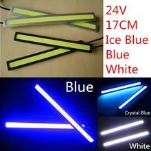 2 adet Su Geçirmez 24 v COB Süper Beyaz Buz Mavi Araba LED Işıklar DRL Sis Lambası Sürüş için 17 cm