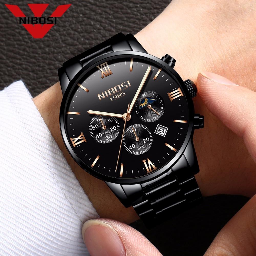 SUN MOON STAR NIBOSI Watch Men Watches Luxury Famous Top Brand Men's Fashion Casual Dress Watch Military Army Quartz Wristwatch