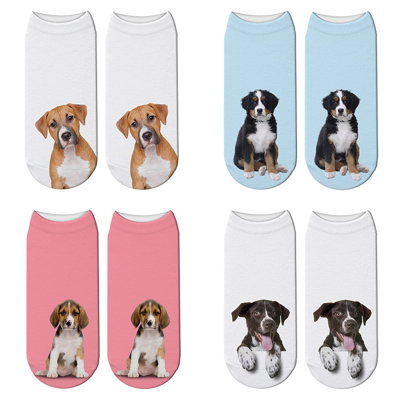 Fashion Harajuku 3D Printing Dogs Socks Funny Pets Animal Short Pink Socks Japanese Kawaii Socks Dalmatian Akita Dog Socks