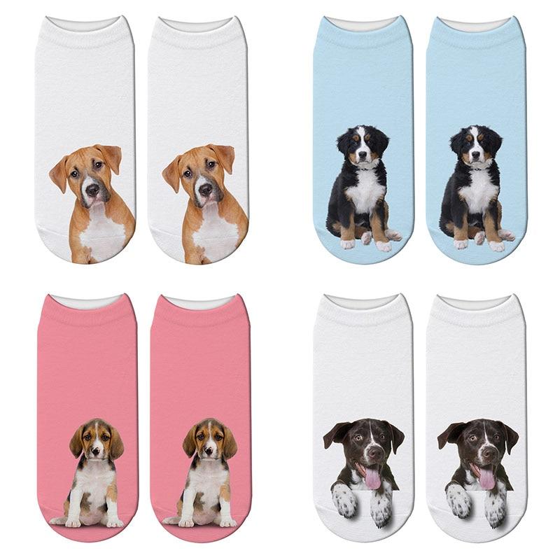 Fashion Harajuku 3D Printing Dogs Socks Funny Pets Animal Short Pink Socks Japanese Kawaii Socks Dalmatian Akita Dog Socks
