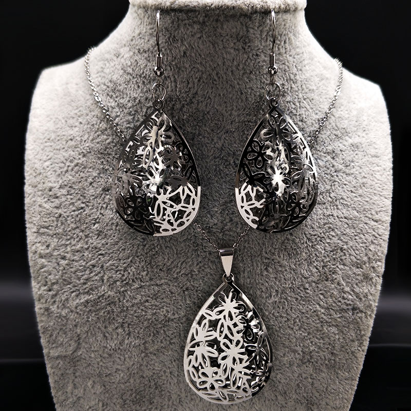 2018 Stainless Steel Jewerly Sets for Women Silver Color Flower Earrings Necklace Set Je ...