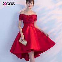 Cheap Short Homecoming Dress 2018 Red Lace And Satin Off The Shoulder High Low Formal Prom Party Gowns