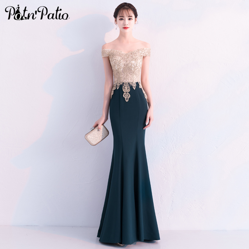 Sexy Off The Shoulder Mermaid Prom Dress Elegant Shiny Crystal Green Long Evening Party Dress Open Back Formal Gowns 2019 New