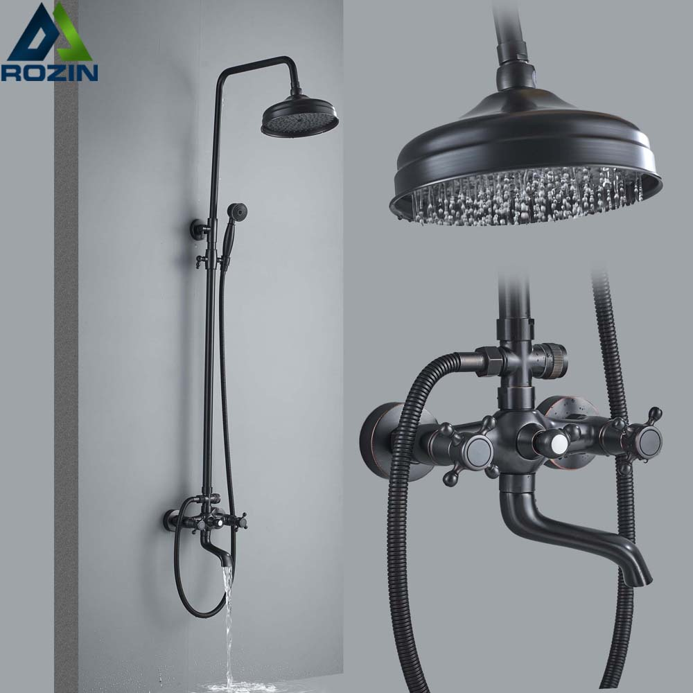 Bathroom Rainfall Shower Mixer Faucet Dual Handle Bath Shower Set Black Brass 8