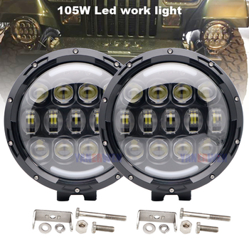 1Pair 7'' inch 105W Round LED Work Light Hi Low Beam Headlight For Jeep 4x4 Offroad Truck Tractor ATV SUV Driving Lamp