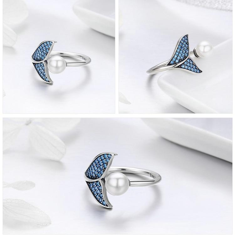 Pearl & The Tail Of Mermaid Adjustable 100% 925 Sterling Silver Rings