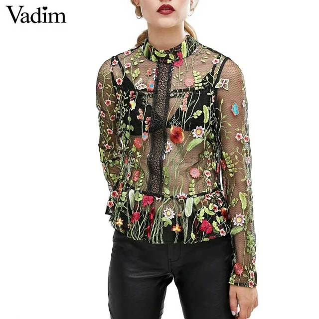Women sweet flower embroidery mesh shirts sexy transparent long sleeve blouse female stand collar brand tops blusas LT1558