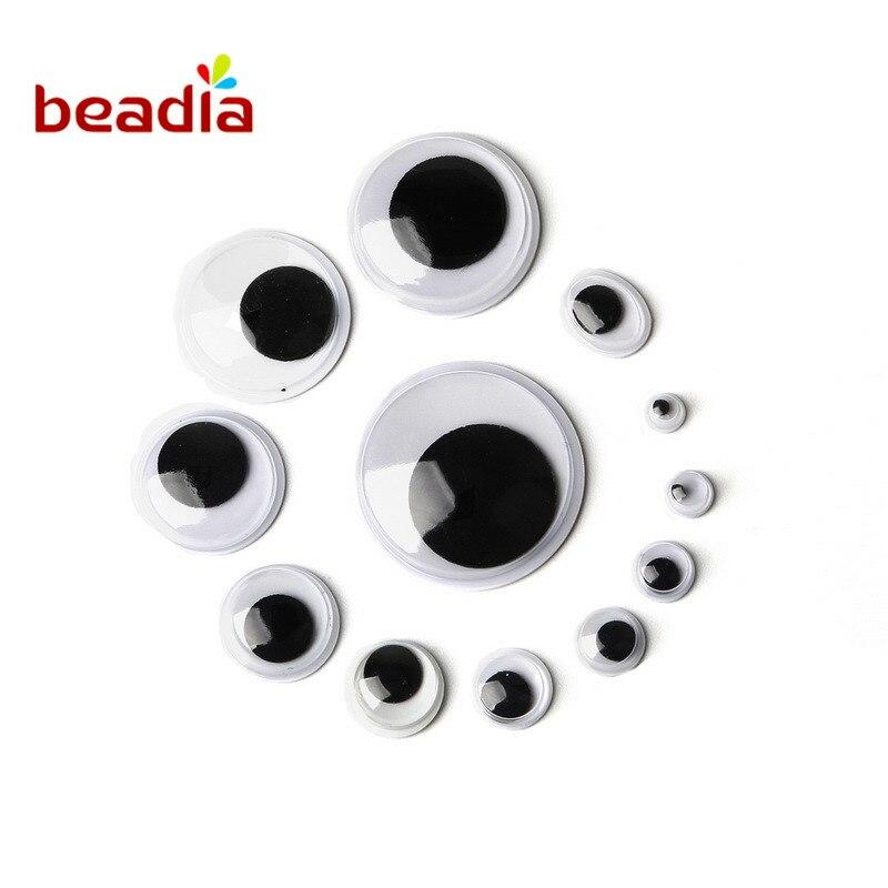 Lucia Craft 200 шт./лот смешанные 5 мм/7 мм/10 мм/12 мм/15 мм клей глаза для игрушек пластиковые глаза для кукол Wiggly завязку записки канцелярские товары