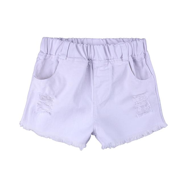 Enfants filles ensemble 2018 Bébé Fille Encolure rose T Shirt Tops + Short blanc 1-6 Ans 3