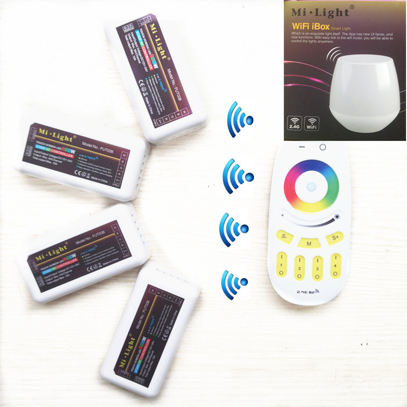 WiFi Controller led mi light hub+ RF touch 4 Zone remote+4pcs 2.4G Controller for LED Strip RGB RGBW RGBWW 12V-24V Free ship mi light wifi led controller 4x2 4g dc12v 24v led controller rgbw 4 zone rf remote control for 5050 3528 led strip light