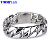 20CM Length 20MM Wide Men Bracelets Exaggerated Link Chain Stainless Steel Bracelets Punk Jewelry Accessories Male