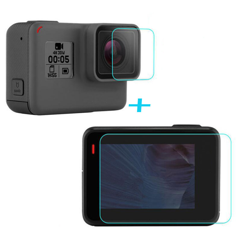 Tempered Glass Protector Cover Case For GoPro Go pro Hero5 Hero6 Hero 5/6 Black Front Camera Lens LCD Screen Protective Film 2 pcs baseus for iphone x 0 15mm transparent rear camera lens protector tempered glass protective film transparent