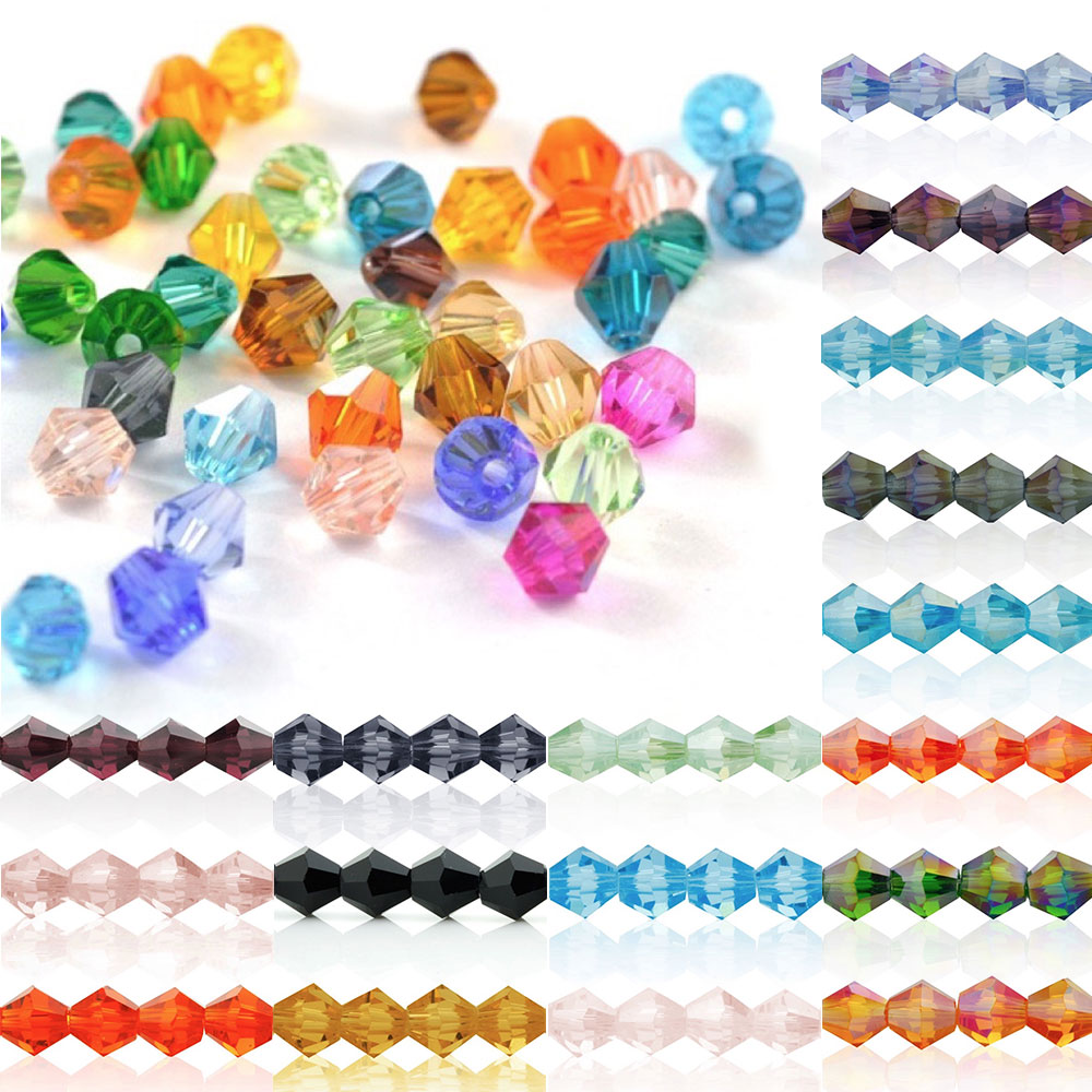 5328 50Pcs 6mm Crystal Bicone Glass Loose Spacer Beads DIY Jewellery Making For Bracelet Necklace 18 Color Wholesale CR0375-2