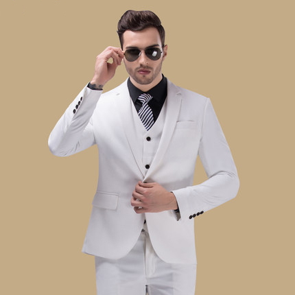 Men White Wedding Dress Suit Slim Groom Classic Suits Terno