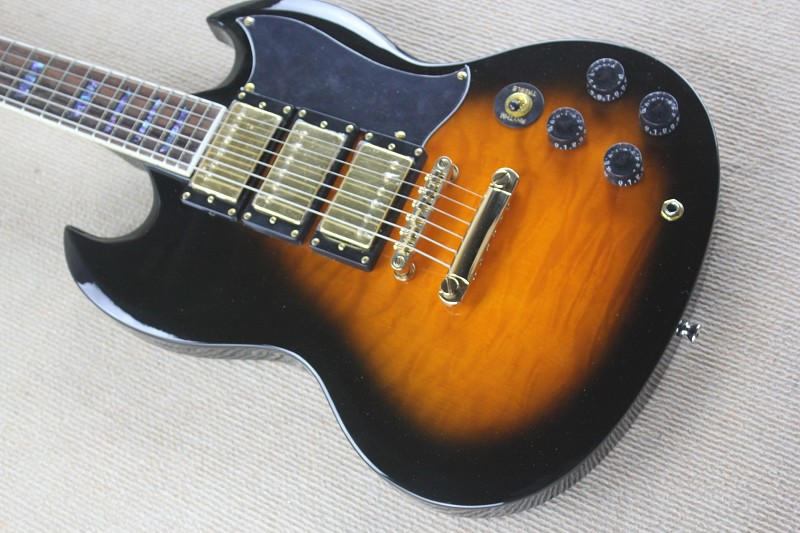 free shipping Custom sG Standard Electric Guitars,Sunburst, 3 Pickups,Musical Instruments China Guitarras 85 musical instrument professional chinese electric guitars chibson lp sg guitars 3 pickups black g400 jazz guitar in stock