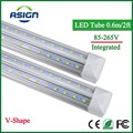 LED Tube T8 Integrated 600mm 20W 2FT V-Shape Led Bulbs Tubes Light 2Feet AC85-265V 96LEDs SMD2835 2000lm 270 Degree CE ROHS