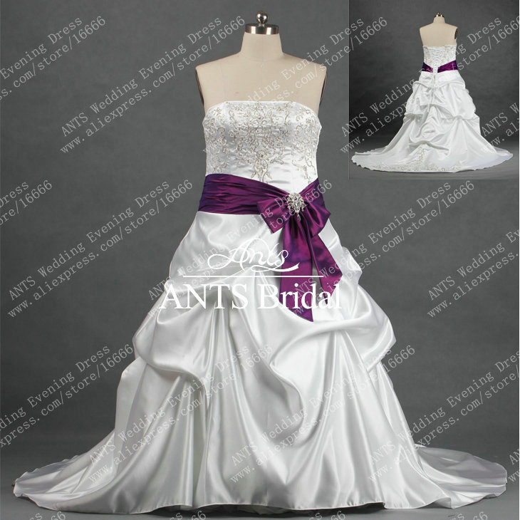 RW254 Autumn Embroidery Sash Purple White Wedding Gown Plus Size-in ...