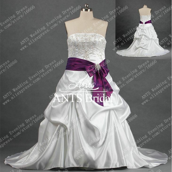 Popular White Purple Wedding Dress Plus Size-Buy Cheap White ...