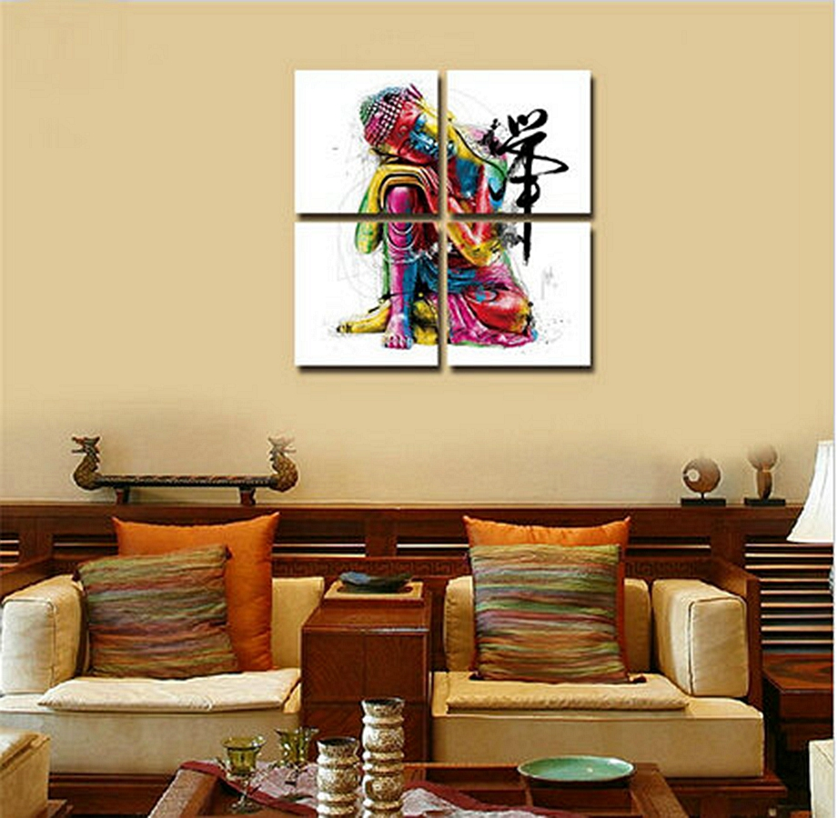 4 Panels Buddha Canvas Painting zen painting Wall Picture For Living ...