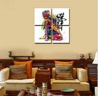 4 Panels Buddha Canvas Painting zen painting Wall Picture For Living Room meditation Tableau Peinture Sur Toile Canvas art