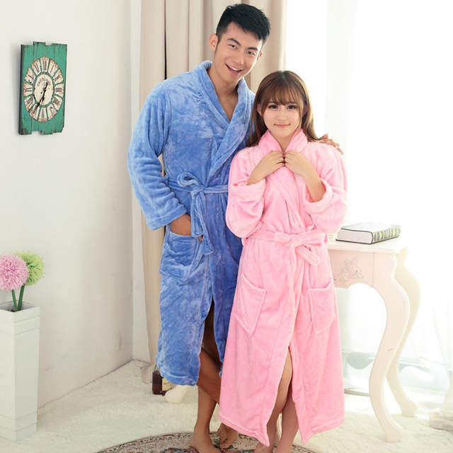 9f2edff481 Online Shop Hotsale Winter Lovers Couple Flannel Soft Warm Long Adult Robes  Nightgown Home Clothes Bath Robe Dressing Gowns For Women Men