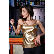 Pink Gold Silver Shiny Metallic Women Camisole Special Ring Design Spaghetti Strap Vest Sexy Ladies Casual Club Tops(China)