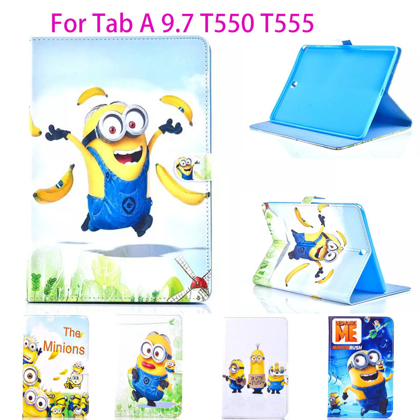 Fashion Cartoon Case For Samsung Galaxy Tab A 9.7 T555 T550 Cover Tablet Funda New Despicable Me Minions Character Leather Capa цена