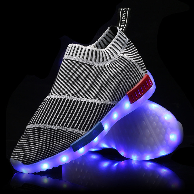 7 Colors Luminous Shoes Fluorescent Kids' Sneakers USB LED Glow Shoe Light UP Shoes for Adults Child Footwear Skatebaord Shoes