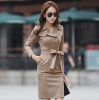 2017 Autumn Spring Notched Collar Long Sleeve Bodycon Pencil Dress Professional Office Style Women's Knee Length Work Dresses