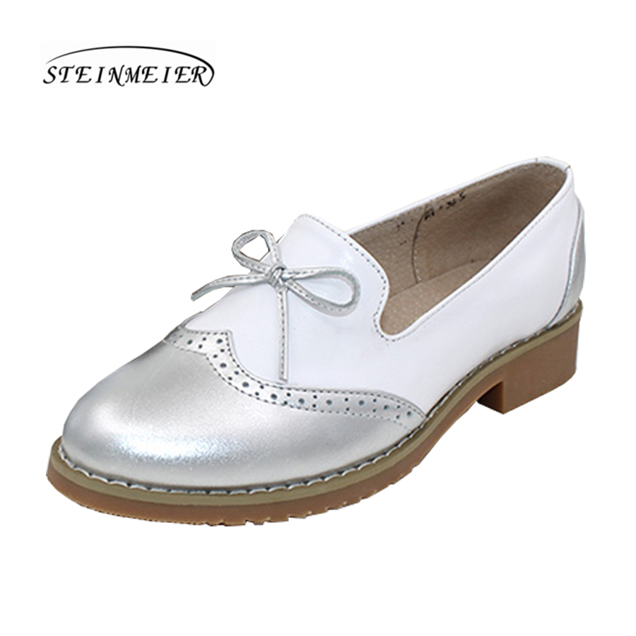 Women genuine leather casual shoes vintage flats bow round toe handmade comfortable silver beige oxford shoes for women handmade genuine leather shoes female sandals vintage open toe low heeled casual shoes flats free shipping