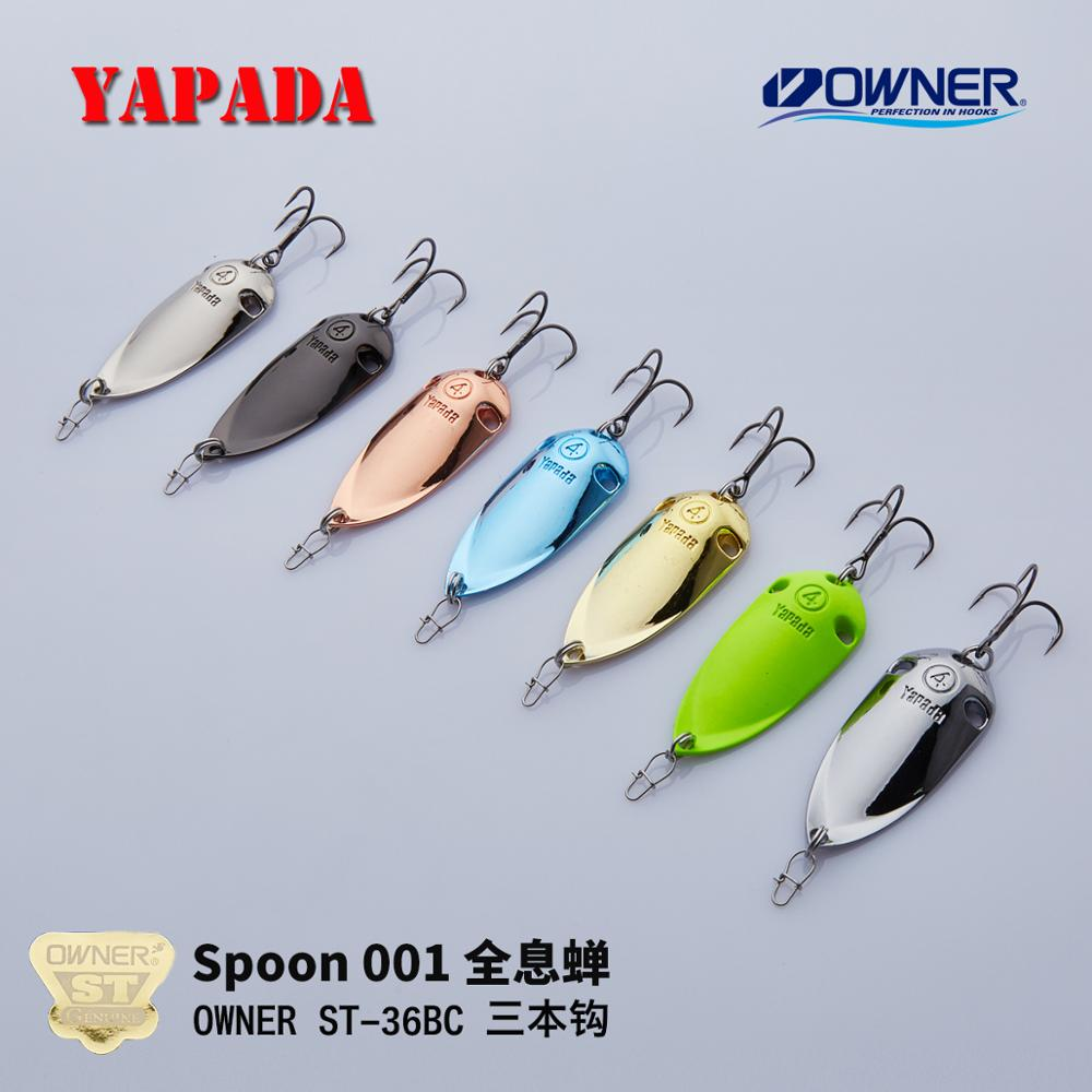 YAPADA Spoon 001 Holografisk Cicada OWNER Treble Kroge 10g-15g Multicolor 45-51mm Metal Spoon Multicolor Fishing Lures