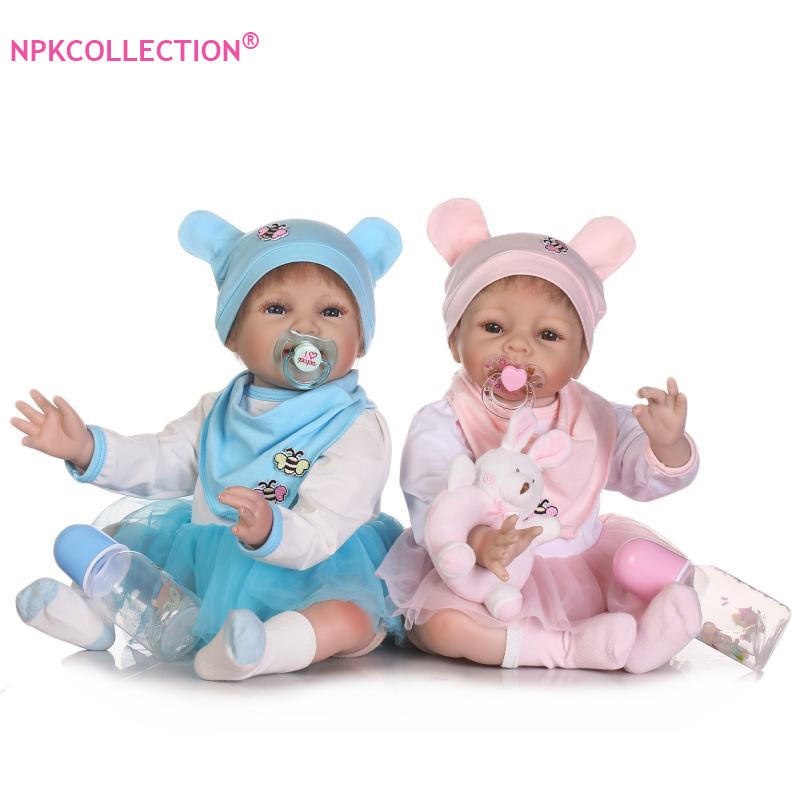 55cm Soft Silicone Reborn Baby Twins Dolls Handmade Cloth Body Reborn Babies Doll Toys Play House Baby Growth Partners Brinquedo сварочный инвертор wert mma 200n