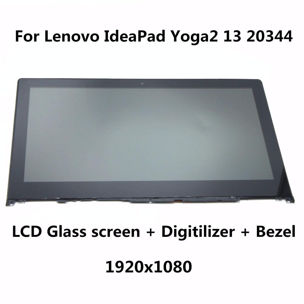 13.3 For Lenovo Yoga2 13 20344 Laptop LCD Screen+Touch Glass Digitizer+Bezel Full Assembly B133HAN02.0 LP133WF2 SP A1 1920x1080 new lcd assembly for lenovo yoga 2 13 lcd touch screen digitizer replacement assembly b133han02 0 lp133wf2 sp a1 pantalla