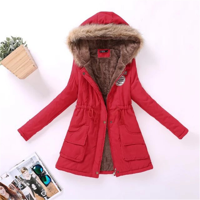 2018 winter ladies casual hooded plus velvet thick warm fur collar cotton-padded jacke coat / Women's parkas wool wadded jacket 1