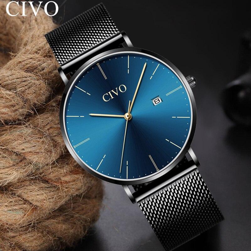 CIVO Simple mode Quartz hommes montres analogique bleu visage maille bracelet montre-bracelet jour calendrier Ultra mince montre Horloges Mannen