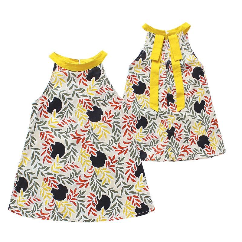 girls beach dresses 2018 Summer Beach Flower Princess Sling Dress For Baby Girls 3 8Y Children Clothing Baby Necklace Gift