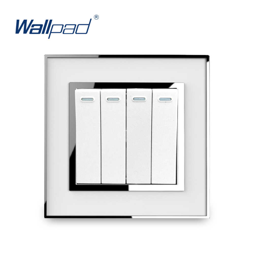 4 Gang 1 Way Light Switch Luxury Mirror Panel With Silver Border Wallpad Push Button Wall Switch 10A AC110-250V