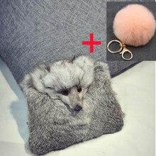 Rabbit Fur Women Handbags  Winter Shoulder Bag Real Fur Handbag lady Messenger Bag fox  Shoulder Bag Tote clutch ZALANDAR
