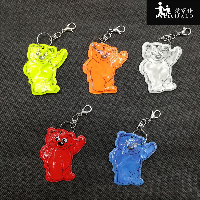 Bear Reflective Keychain reflective student school bag pendant Reflective keyrings  for visibility safety use